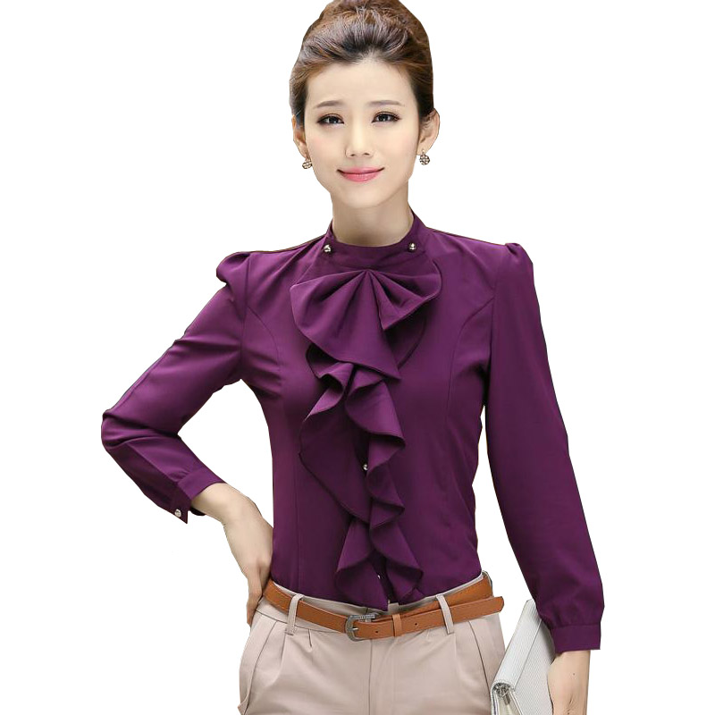 New Sale Womens Clothing Femme Long Sleeve Frill Ruffle Blouse Enegant Chiffon Blouses M ...