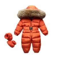 2018 для новорожденных комбинезон зима теплая дутая куртка для маленьких девочек младенческой Мальчики Костюмы пуховики комбинезон с капюшо