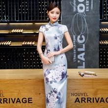 c52ab644d2127d Grijs Print Bloemen Handgemaakte Knop Silm Qipao Chinese Traditionele Vrouwen  Jurk Vintage Dame Sexy Rayon Cheongsam