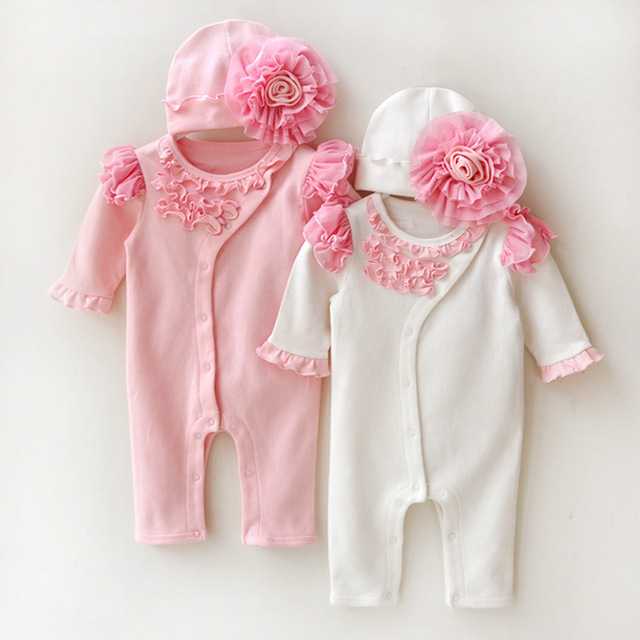 5254b1fd4732 Newborn Clothing Sets Baby Girl Clothes Kids Birthday Dress Girls Lace  Flower Rompers+Hats Princess Infant bebe Jumpsuit Gifts