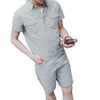 Summer Harajuku Gothic Fashion Men Slim fit Jumpsuit Mens Side Pocket Rompers Young Men Bib Cool Overalls Pants Hip Hop 072503