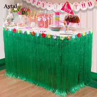 5pcs Hawaiian Party Decorations 275x75cm Artificial Grass Table Skirt With Hibiscus Tropical Luau Party Supplies