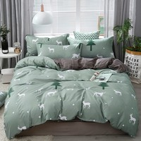 American Style Bedding Set AB Side Bed Set Super King Size Bed Linens Cartoon Forest Fawn Duvet Cover Set Home Women Bedclothes