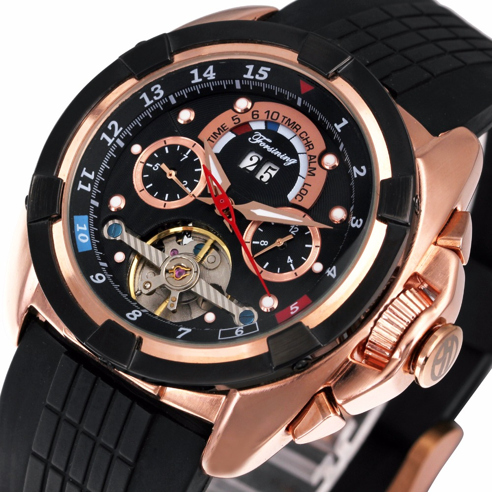 ФОТО Men's Military Sports Watches 2017 FORSINING Top Brand Luxury Automatic Mechanical Wristwatches Silicone Strap Round Tourbillon