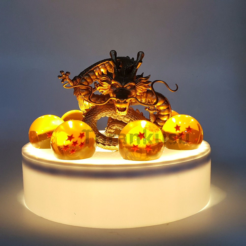 Anime Dragon Ball Z Golden Shenron Crystal Ball Set PVC Action Figure Dragon Ball Super Son Goku Figurine DBZ Model Toy Gift 7cm large size jp hand done animation crystal dragon ball set genuine model toy gift action figures anime toys kids