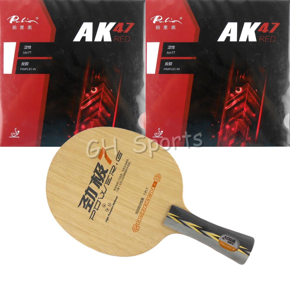 Pro Table Tennis PingPong Combo Racket DHS POWER.G7 Blade with 2x Palio AK 47 RED Matt Rubbers FL
