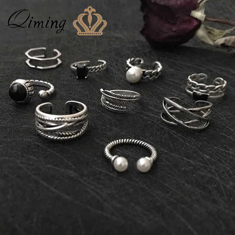 QIMING Steampunk Turkish Finger Toe Ring Set Leaf Pearl Leaves Stone Knuckle Punk Rings Female Women Vintage Thai Silver Jewelry