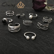 9d89b2b8763c QIMING Steampunk turco dedo anillo Set hoja perla hojas piedra nudillo Punk anillos  Mujer Vintage joyería de plata tailandesa