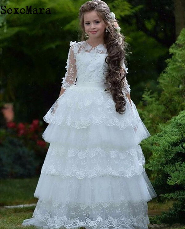 Flower Girls Dress For Wedding White Lace Appliques Long Sleeves Layered Puffy Girls Birthday Dress Floor Length Custom Made long sleeves layered swing sweater dress