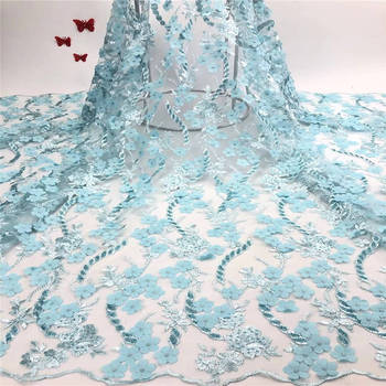 2019 New Water Green African Lace Fabric French Nigerian Mesh Tulle Embroidered beads Guipure 3d Lace Swiss Voile Lace Green
