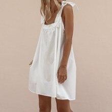 2019 Summer Women Sexy Off Shoulder Sundress Lace-Up Sleeveless Mini Dress Slash Neck Beach Party Dress цена