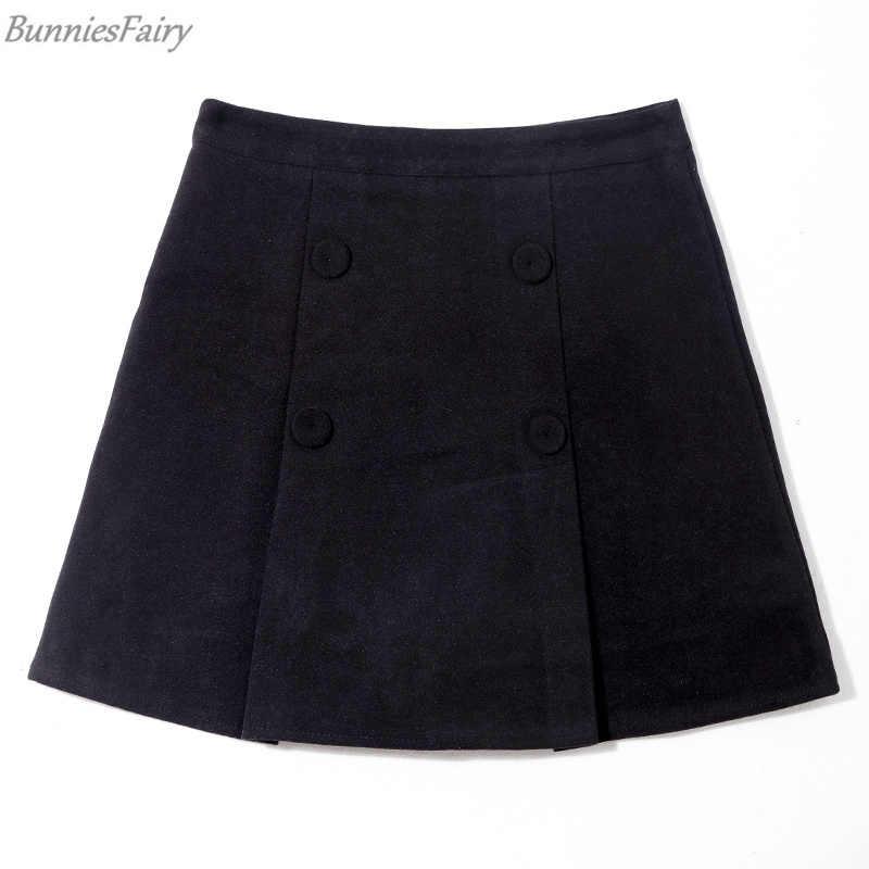 BunniesFairy 2019 wiosna pani Preppy styl anglia Plaid sprawdź wełny krótkie wysoka talia Mini spódnica Tweed w paski Culottes