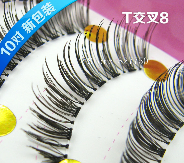 10 Pairs Handcraft Reusable Thick Wispies Natural False Eyelashes with Transparent Stems Make up Eyelash Extensions Eye Lashes