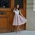 Nuevo Retro Cintura Alta Falda Elegante de Las Señoras Midi Plisada faldas para Mujer de Saia Feminina a Oficina de Calidad Superior Plus tamaño