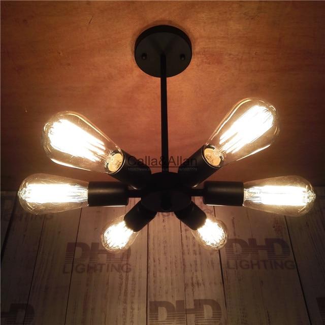 6arm Vintage Nordic Loft Edison Bulb Chandelier Retro Ceiling Spider Pendant Antique Adjule E27 Indoor