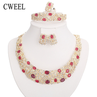 African Beads Jewelry Sets For Women Crystal Necklace Set Fine Earrings Gold Plated Pendant Wedding Dress