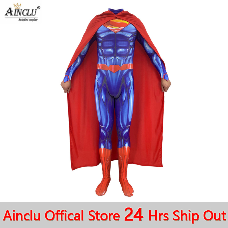 Men Boys Superman Man Of Steel Cosplay Costumes Tights Jumpsuits Superhero DC Justice League Halloween Zentai Suit With Cloak