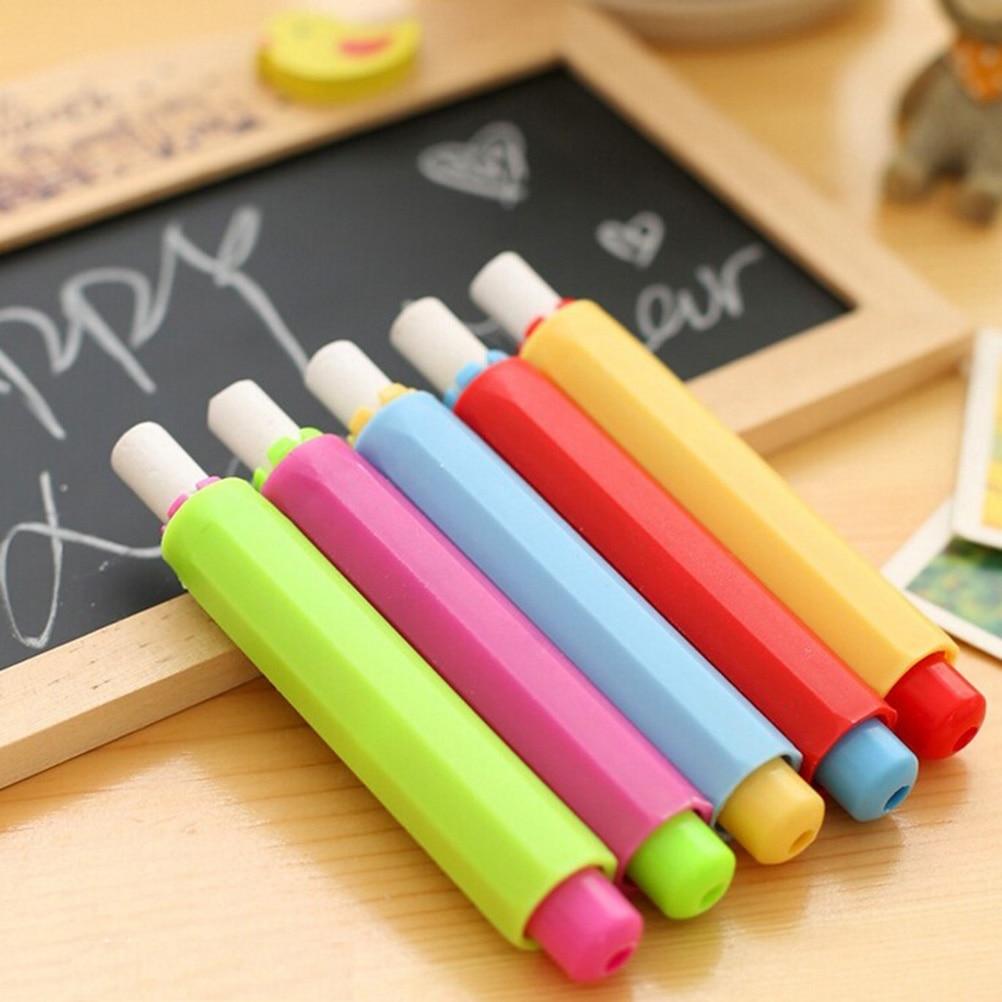 Non Dust Clea Dustless Chalk Holders Holder Pen Porta Tiza Chalk Clip N Teaching On Chalkboard Wall Sticker School Supplies 2PCS