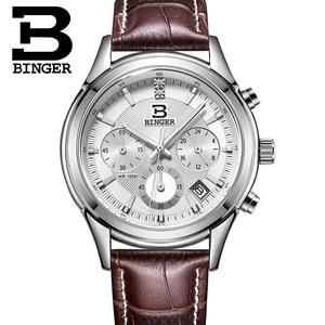 Image 4 - Switzerland BINGER Mens Watch Luxury Brand Quartz waterproof Genuine Leather Strap auto Date Chronograph Male Clock BG6019 M