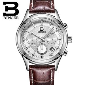 Image 4 - Szwajcaria BINGER męski zegarek luksusowy marka kwarcowy wodoodporny pasek ze skóry naturalnej chronograf automatyczna data męski zegar BG6019 M