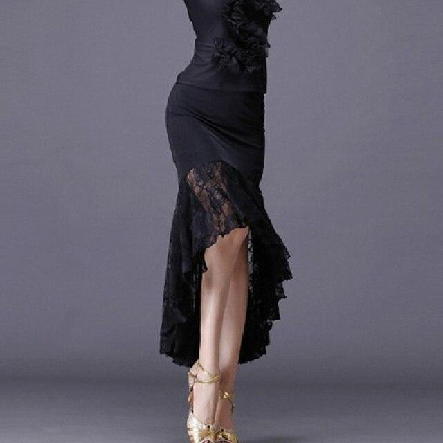 新セクシーなラテンダンススカート女性黒のレースのスカート不規則な魚の尾スカートロング社交ダンスドレス