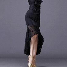 Nowe seksowne spódnice do tańca latynoskiego kobiety czarna koronkowa spódniczka nieregularne spódnica w kształcie rybiego ogona długa sukienka do tańca towarzyskiego