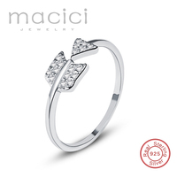 Romantic Cupid Arrow Ring Free Size Design 100 Real 925 Sterling Silver Promise Ring Two Color