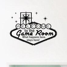 Добро пожаловать в игровую комнату декор казино настенные художественные наклейки азартные виниловые наклейки Современный домашний азартный плакат настенные художественные украшения