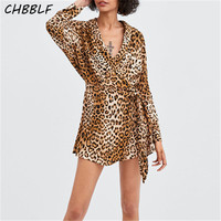 CHBBLF women leopard pattern wrap playsuits cross V neck bow tie sashes long sleeve bodysuits rompers XDN9337
