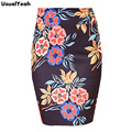 2017 Elegant Flower Print High Waist Elastic Wear to Work Office Party Casual Bodycon Fitted Pencil Skirt S - XXXL