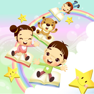 Free Shipping Boy And Girl Slide The Rainbow Wall Stickers