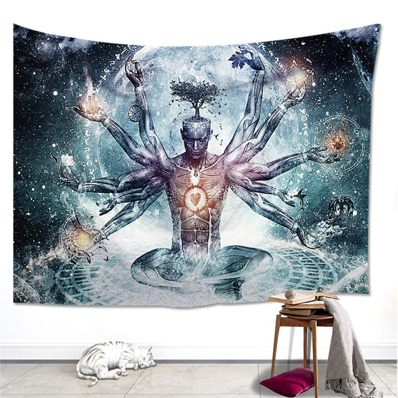 Indian Buddha Statue Tapestry Mandala Wall Fabric Psychedelic Hippie 7 Chakra Tapestry Wall Hanging Carpet Curtain Boho Yoga Mat-in Tapestry from Home & Garden