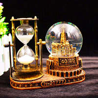Vintage Tower Hourglass Snow Globes Glass Music Box Home Desktop Decoration Birthday Christmas New Year Gifts