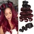 Brazilian Virgin Hair with Closure 3 Bundles with Closure Brazilian Body Wave Ombre Hair with Closure Burgundy Brazilian Hair
