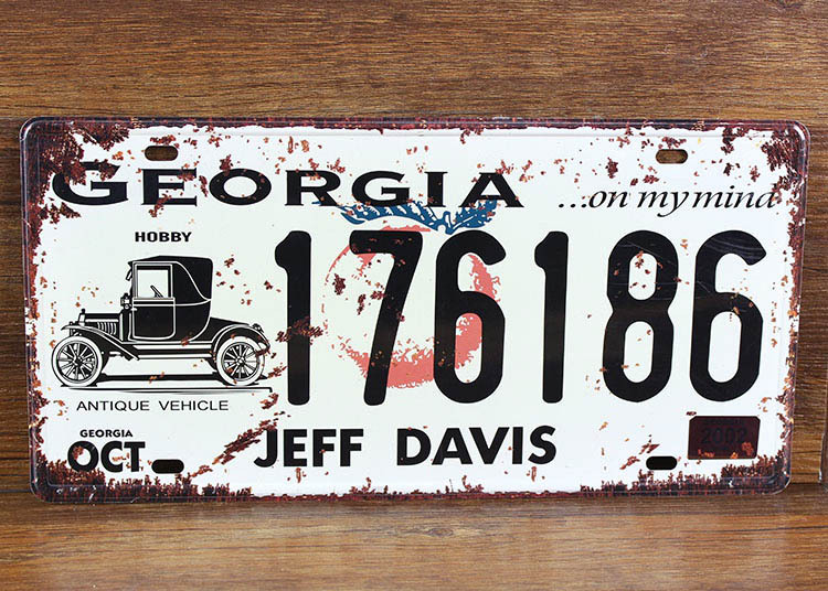 SP-CP-0175 Car License Plates number  GEORGIA 176186 Retro Vintage Metal tin signs Wall art craft painting 15x30cm