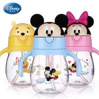 Disney 270ML Baby Feeding Bottle With Handles Lovely Cartoon Flip Lid Leak Proof Small Pot Water