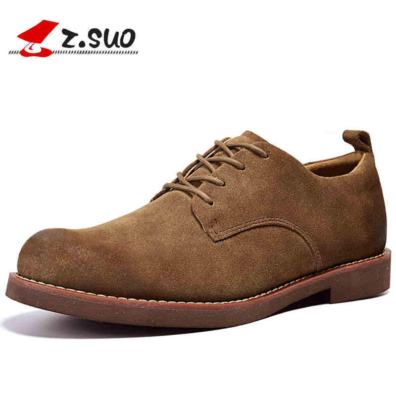 Z.SUO Cow suede Leather Men Casual Shoes 2018 Autumn Fashion Retro Flat Shoes Breathable Soft Lace-up Oxfords Shoes genuine leather men shoes spring casual shoes 2016 autumn leather shoes breathable flat shoe lace up outdoor oxfords wholesale