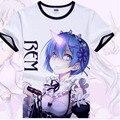 Re:Zero From Different world kara Hajimeru Isekai Seikatsu Rem Ram cosplay cotton daily unisex tshirt tee