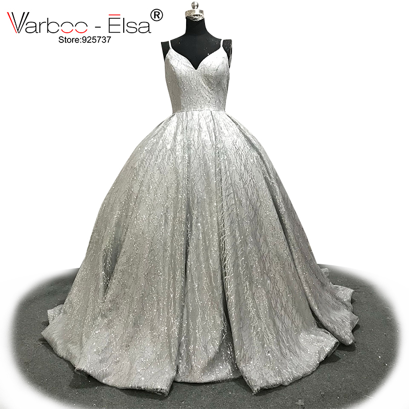 VARBOO ELSA 2018 New Shiny Silver ballgown Sequined Sexy V neck Prom Gown Detachable Shoulder Strap