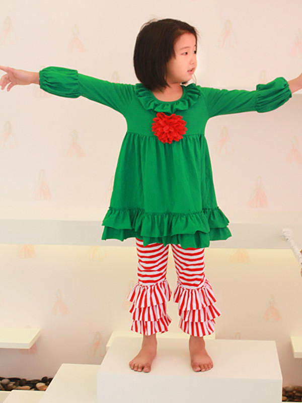 Children Girl Christmas Outfit-Red /Green Top Dress + Triple Ruffle Pants 2 Peices In Set-Toddler Girls Clothing Set green arrow vol 2 triple threat the new 52