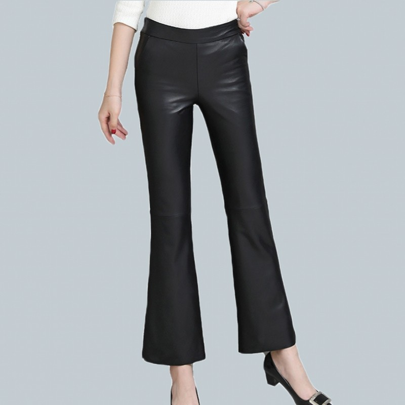 2019 Korean Women Black Sheepskin Genuine Leather Wide Leg Pants Fashion Real Lambskin Slim Elegant Luxury Flare Pants Trousers