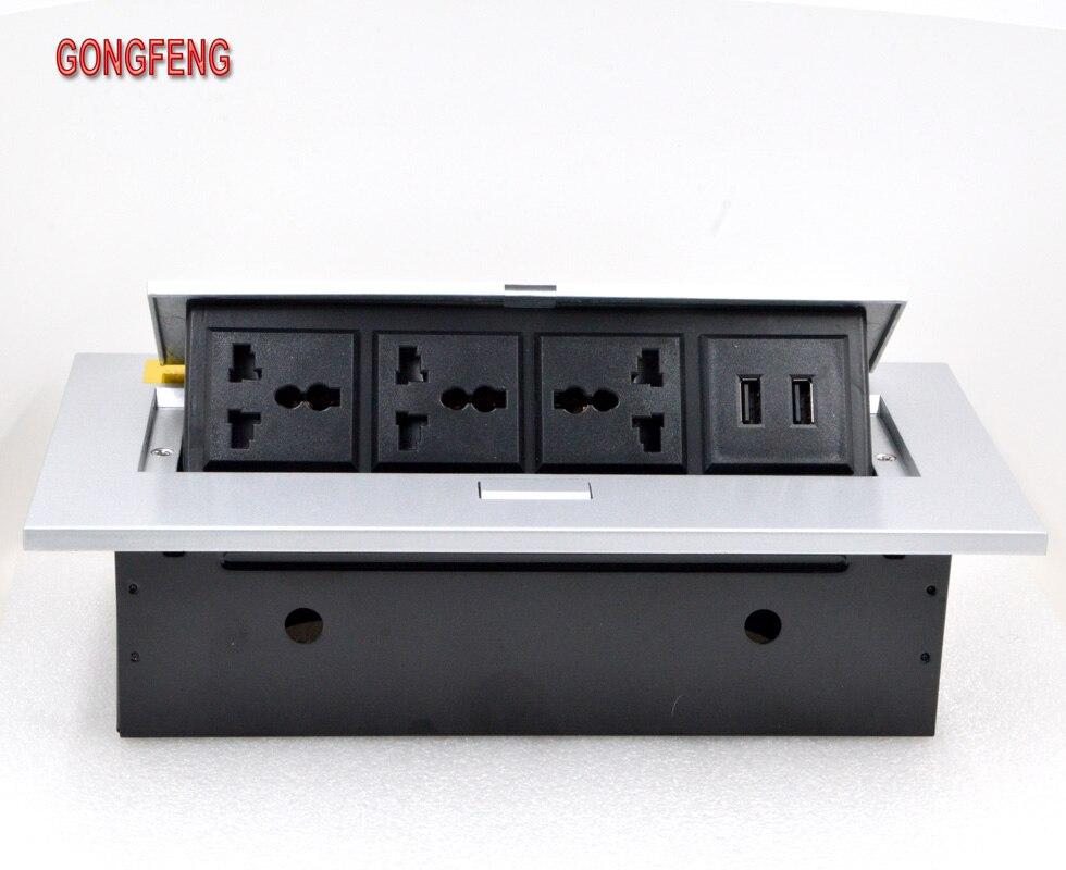 GONGFENG chaud nouveau K208CD bureau Jack up Multi fonction Double USB charge 5V2A bureau prise de bureau personnalisé spécial en gros