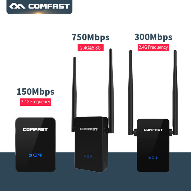 150M-750Mbps Wireless WiFi Repeater WiFi Router, 2.4G+5.8G Access Point (AP), WI FI Signal Boosters Network Amplifier Repeater