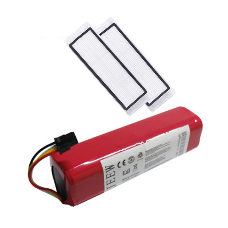 Rechargeable For Xiaomi mijia robot Battery 2Pcs HEPA Filter 14 4V 6000mAh Robot Vacuum Cleaner Accessories