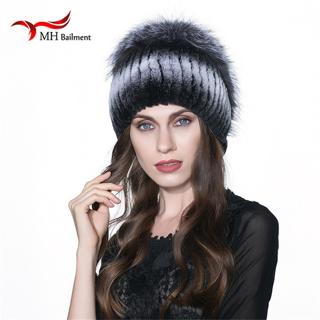 MH Rex Rabbit Fur Winter Hats Female For Women Vintage Flower Top Casual Solid Knitted Caps Skullies Beanies W#20