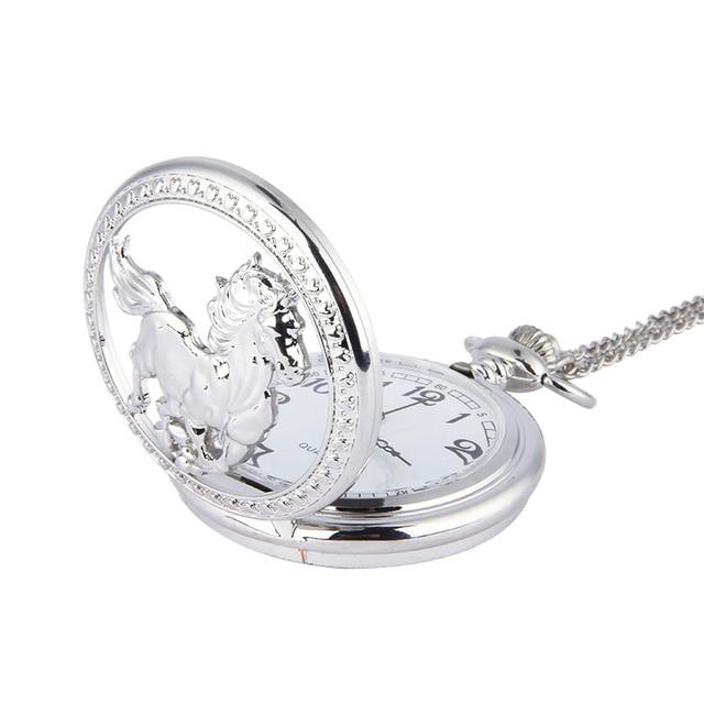 Fashion Silver Horse Hollow Quartz Pocket Watch Chain Pendant Necklace for Women