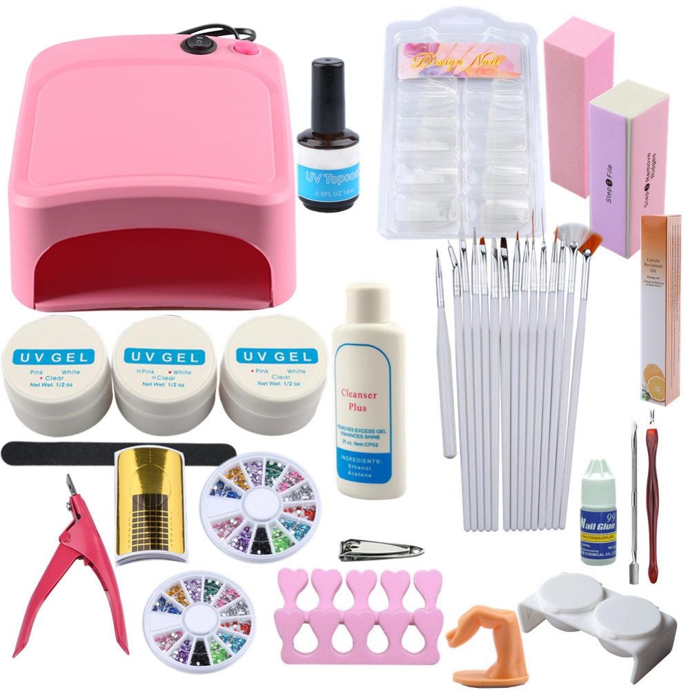Pro UV Gel Nail Art Kit 36W Nail Dryer Lamp UV Gel False Tips Sticky Layer Adhesive Remover Nail Polish Tools Set for Manicure