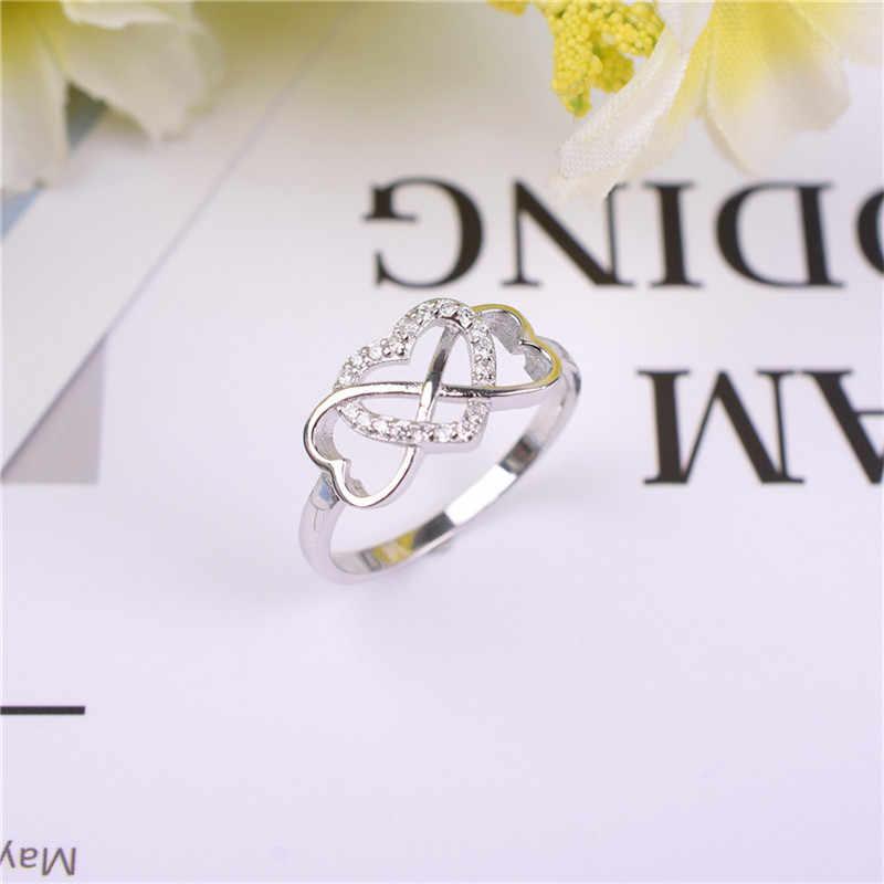 แฟชั่นคลาสสิกยี่ห้อหัวใจประกาย SONA แหวนเพชรเครื่องประดับ 100% เงินแท้ Silver 925 Sterling Silver Midi แหวนผู้หญิง