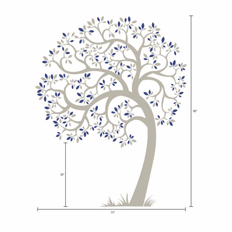 Vinyle pépinière arbre Mural autocollant, Mural adhésif moderne décoration Stickers muraux Stickers muraux pour enfants pépinière chambres décor à la maison - 4