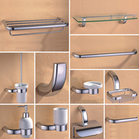 Chrome Bathroom Hardware Set Brass Shower Soap Dish Dispenser Holder Towel Rack Rail Shelf Bar Toilet Brush Bathroom Accessories